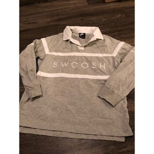 Nike Grey Swoosh Graphic Collared Pullover